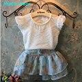 Humor Urso Summer2016 Novo Da Menina das Crianças 2 PC Define Saia Terno do bebê conjuntos de Roupas flores calças saia pontos meninas roupas