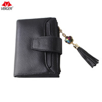 Vbiger Hot Sale Women Short Wallet Genuine Leather Trifold Wallet Coin Purse High Quality Fashion Three