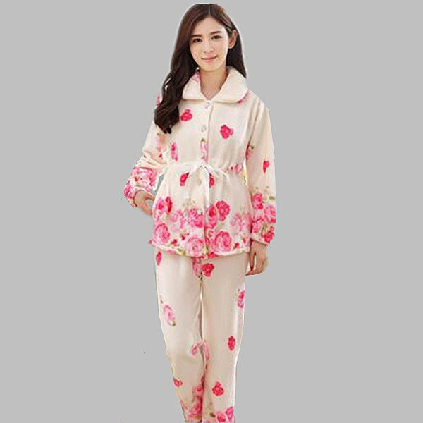 New 2018 pijama fashion warm flannel winter pajamas thick pyjamas women  long sleeve print ladies sleepwear women s pajamas A284 504635b66