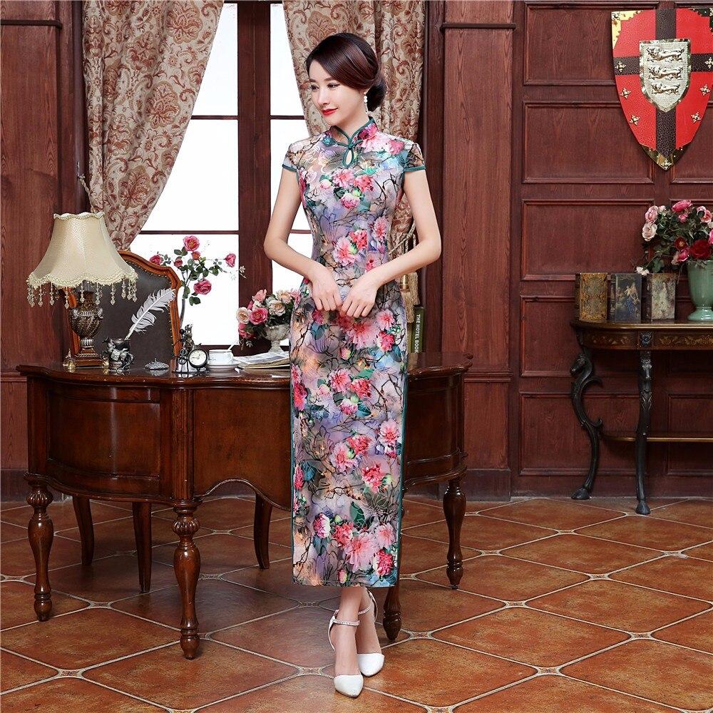 Dress Long 2 Satin S Style D été Mandarin Col Sexy Usure Femmes 1 style  Casual ... f7915bb05be0