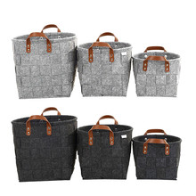 hot deal buy 1pcs diy storage basket household manual knitted dirty clothing felt storage bag toys put sundries home storage & organization