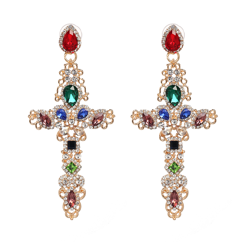 Crystal Cross Drop Earrings 8