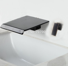 Oil Rubbed Bronze Wall Mounted Bathroom Sink Basin Faucet Single Handle Waterfall Bathroom Hot and Cold