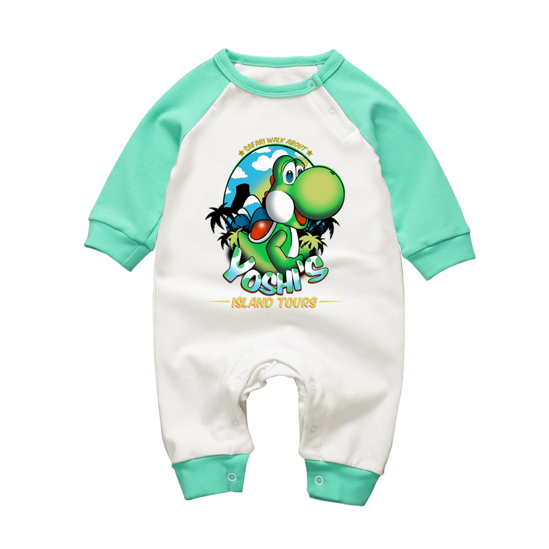 2017 Baby Rompers Cute Super Mario Yoshi Costume for Infant Long Sleeve Newbron Boys Girls Romper Jumpsuits Brand Baby Clothing