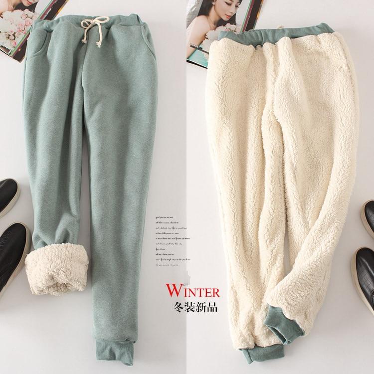 Winter lambskin thickened sweat pants feet plus velvet casual pants loose woman   leggings