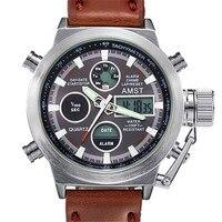 Часы мужские  модные  армейские  спортивные  кварцевые  водонепроницаемые  с кожаным ремешком для часов