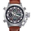Relojes de Los Hombres 2016 de la Moda Deportiva Militares Del Ejército Correa de Cuero Cuarzo Reloj De Buzo Impermeable Digital de Reloj Del Relogio masculino