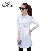 TLZC Elegant Lady Long Cotton Shirts White Size S XXL Korean Style Women Fashion Blouses Workwear