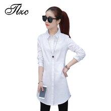 TLZC Elegant Blouse White Shirt Women Size S-2XL Ladies Office Shirts Formal & Casual Cotton Blouse Fashion Blusas Femininas