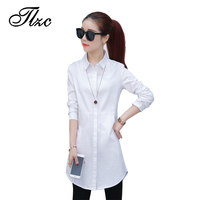 TLZC Elegant Lady Long Cotton Shirts White Size S XXL Korean Style Women Fashion Blouses Workwear