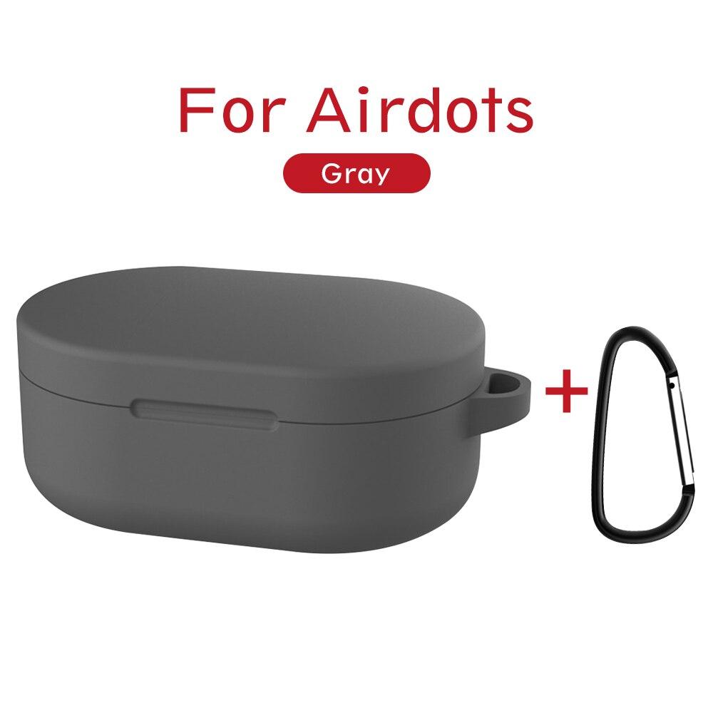 Силиконовый чехол с пряжкой для Red mi AirDots Air dots, чехол, беспроводной Bluetooth чехол s, мягкий ТПУ чехол - Цвет: Серый