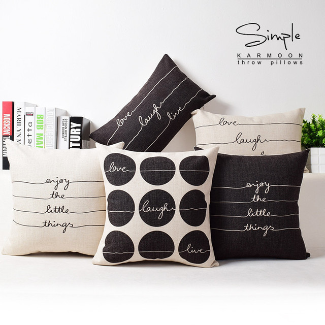 Love Live Laugh Cushion Covers Black And White Sofa Pillow Cover Minimalist  XO Pillow Cases Bedroom