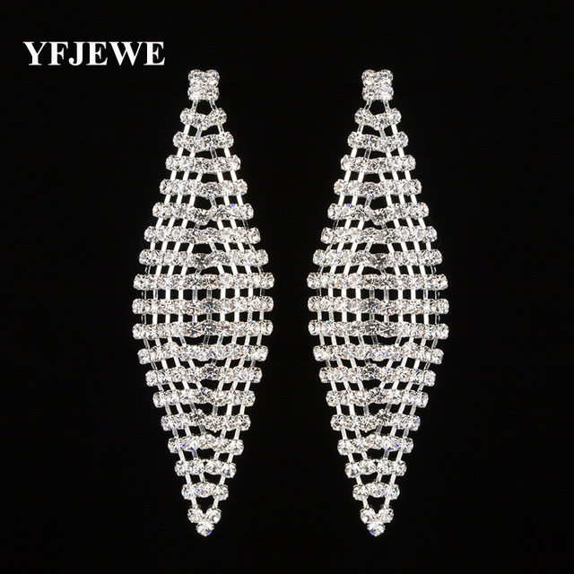 YFJEWE Fashion Crystal Long Pendants Earrings Silver   Gold Color Boucle D  oreille Party Wedding Jewelry for Women Gift E443 8a08054d9281