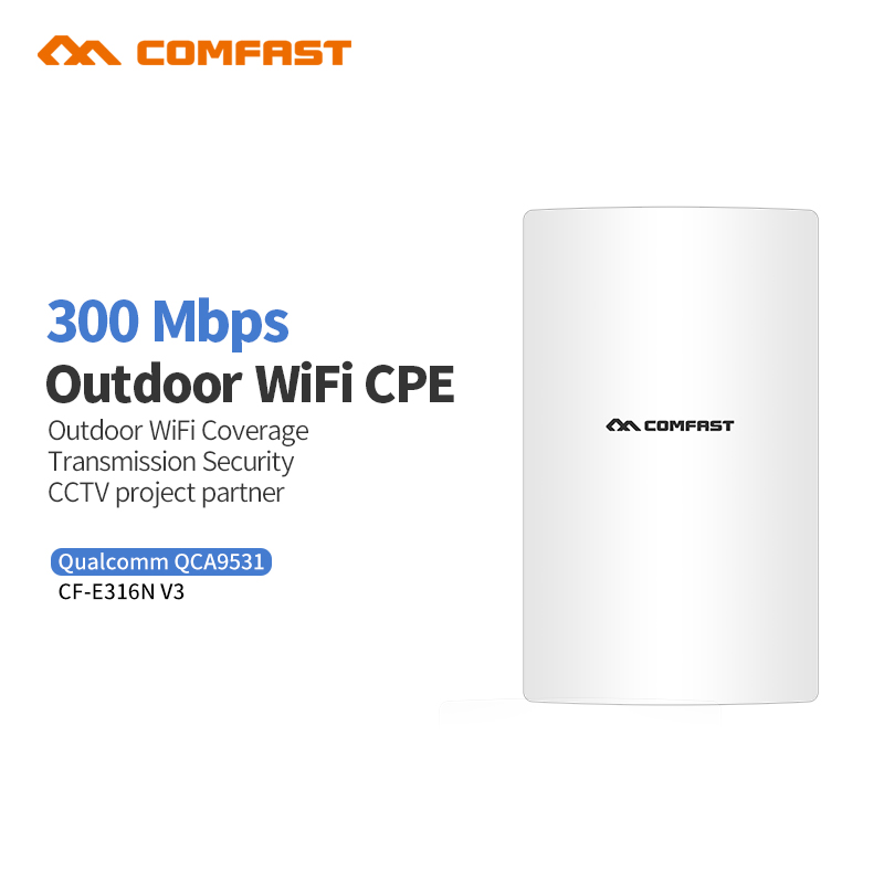 Comfast CF-E316NV3 300M Long Range Wireless outdoor wifi CPE AP QCA9531 13dBi Wi fi Antenna Network Bridge Router For school comfast cf e214nv2 2 4g wireless outdoor router 2km wifi signal booster amplifier wds network bridge 14dbi antenna wi fi access