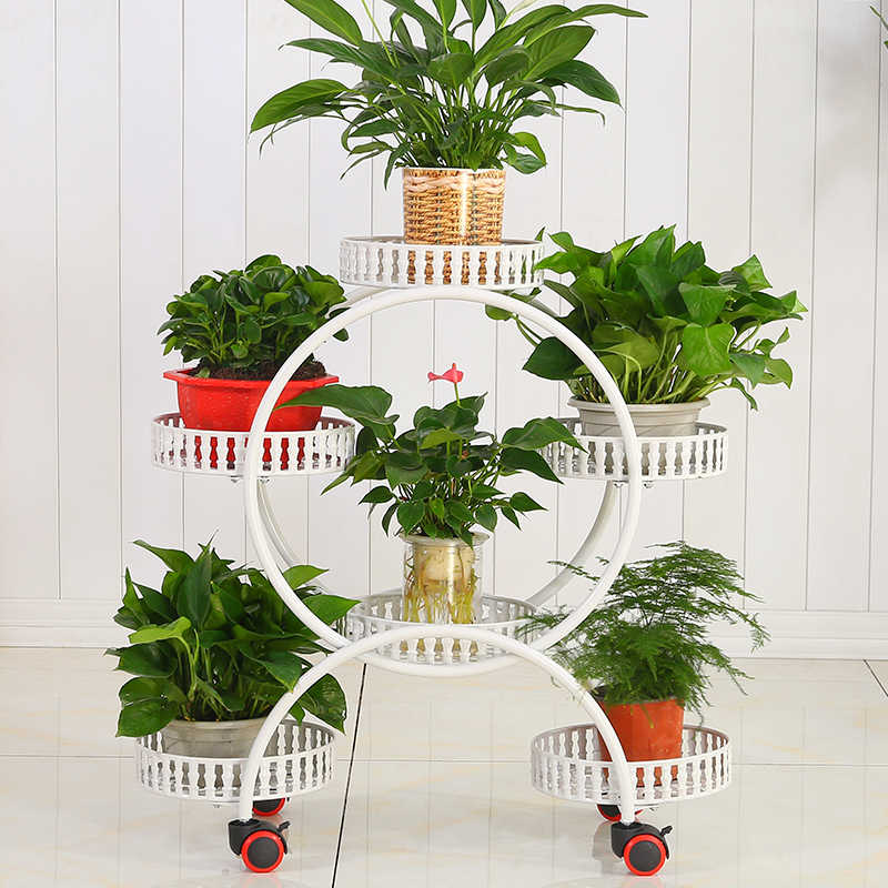 Portable Flower Stands with Wheels Metal Plant Holder Creative Room Organizer Large Storage Rack Floating Shelf for Indoor Decor