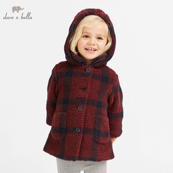 DB8957 dave bella autumn winter baby girl lovely jacket children fashion outerwear kids wine plaid coat image