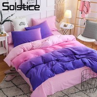 Solstice Home Textile Purple Pink Bedding Set 3/4Pcs Bedlinen Duvet Cover Pillowcase Bed Sheet Girl Kid Teenage Woman Bedclothes