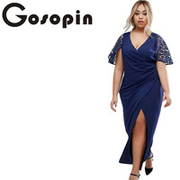 Gosopin Summer Dress Casual Long Big Sizes New Women Plus Wrap Front Maxi Dress With Lace