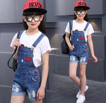 Girls jeans, Korean version, summer lip label, cowboy, big boy strap, shorts, children 2018 new style children's wear. 1
