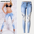 Hole Hollow Lace Jeans Women's 2016 Stretch Skinny Denim Trousers Fashion Female Ripped Pencil Pants