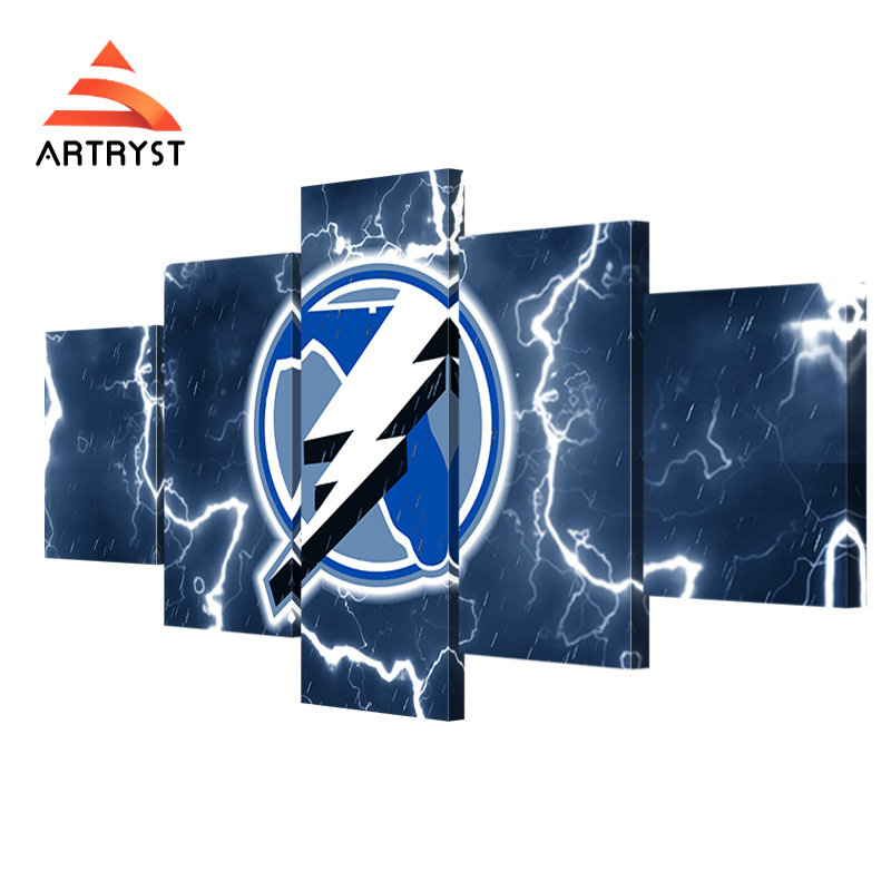 Artryst Home Decor Art Wall 5 Pieces With Frame Canvas Tampa Bay Lightning Team Logo Sport
