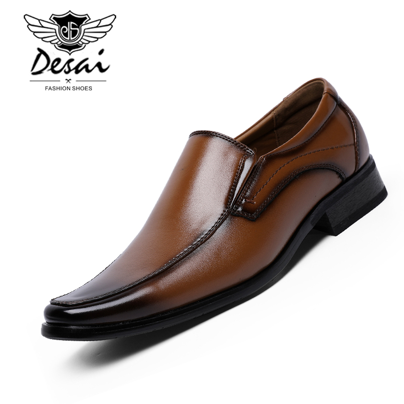 Desai Men Leather Shoes Business Dress Shoes Men Small Square Head High Quality Low Price Factory