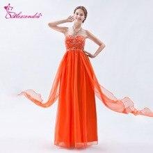 3b9288247b Alexzendra naranja larga una línea de gasa vestidos de baile Sweetheart  Party con cuentas vestido de graduación para las niñas