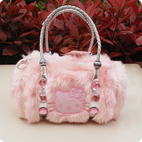 17c4315e6632 New Arrival!!2013 Fashion Cute Bow Hello Kitty Velour tote bag handbag  shoulder Luggage Free Shipping 5Colors Model2