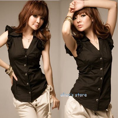2012 new ladies black lapel Slim shirt