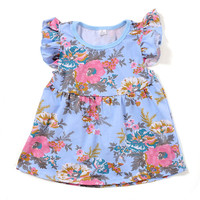 Vintage Baby Girls Tees Cotton Ruffle Sleeve Baby Clothes Floral Printed Girls T-shirts Fashion Girls Shirts Toddler Outfit Top