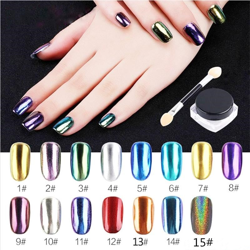 15 Color Glitter Mirror Magic  Powder Tip DIY Nail Art Glimmer Metal Gold Decoration Tool