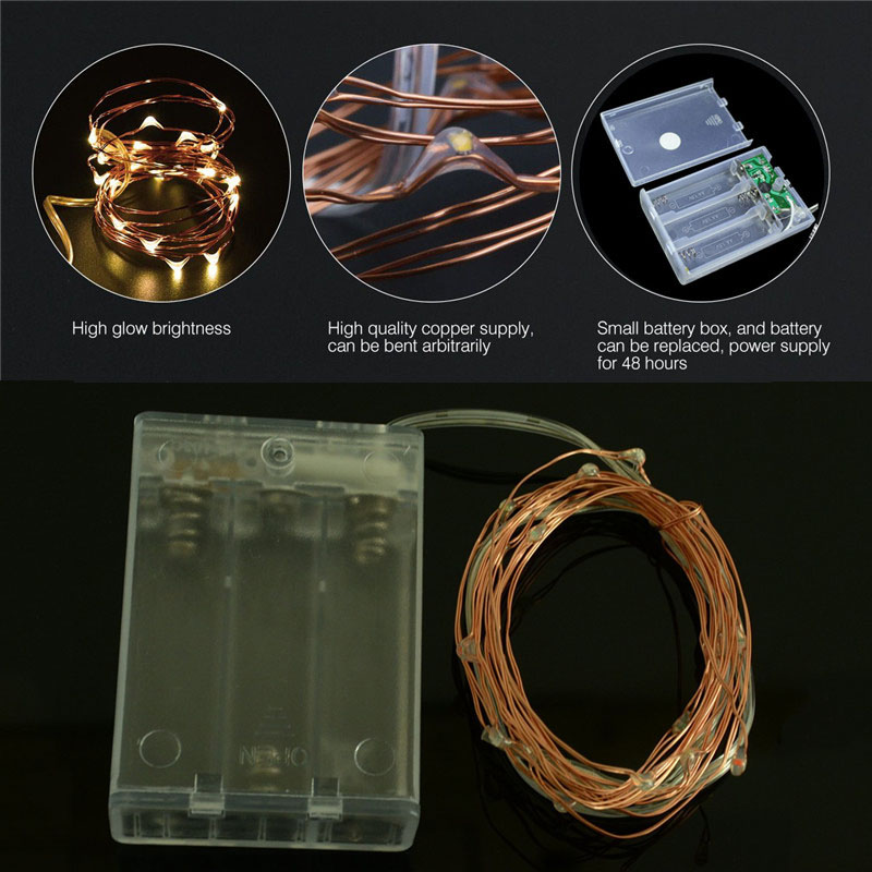 10Pcs 2M 20Leds Led string light Copper wire Flexible fairy string light Outdoor decoration for Party Birthday Holiday