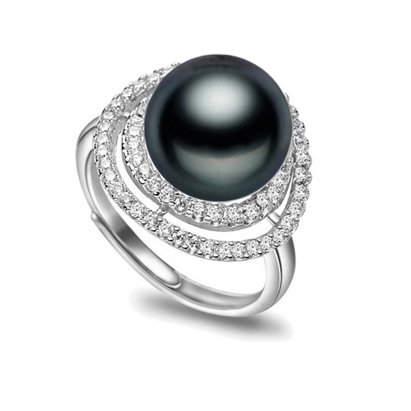 Black and white diamond rings for women