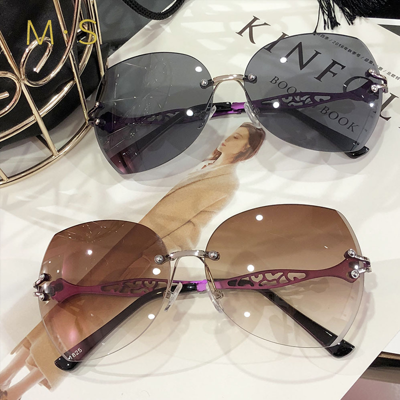 MS 2018 Women Fashion Rimless Sunglasses Classic Brand Designer Sunglasses High Quality Eyewear New Trendy