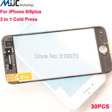 30PC 3 in 1 Cold Press Front Screen Outer Glass with Frame OCA Film Pre-installed Replacement for iPhone 6/6 plus
