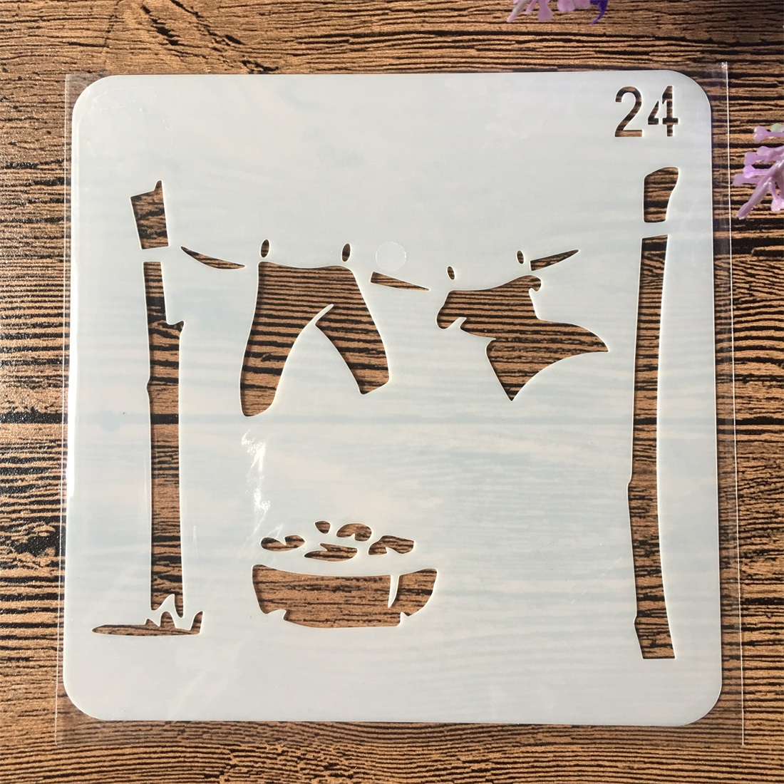 1Pcs 15cm Clothes Drying DIY Layering Stencils Wall Painting Scrapbook Coloring Embossing Album Decorative Card Template
