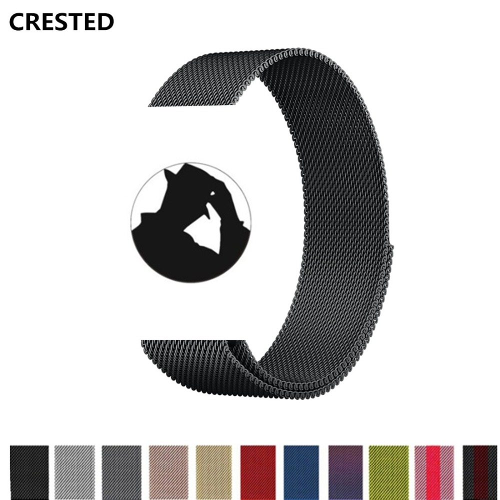 CRESTED Milanese Loop For Apple Watch band strap 42mm/38mm iwatch series 3 2 1 wrist bands Stainless Steel Link Bracelet belt