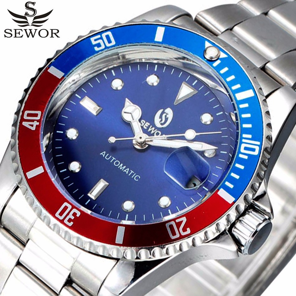 Automatic Mechanical Watch SEWOR Auto Date Top Brand Luxury Sport Designer Men Clock Army Military Watches Relogio Masculino fashion sewor men luxury brand auto date leather casual watch automatic mechanical wristwatch gift box relogio releges 2016 new