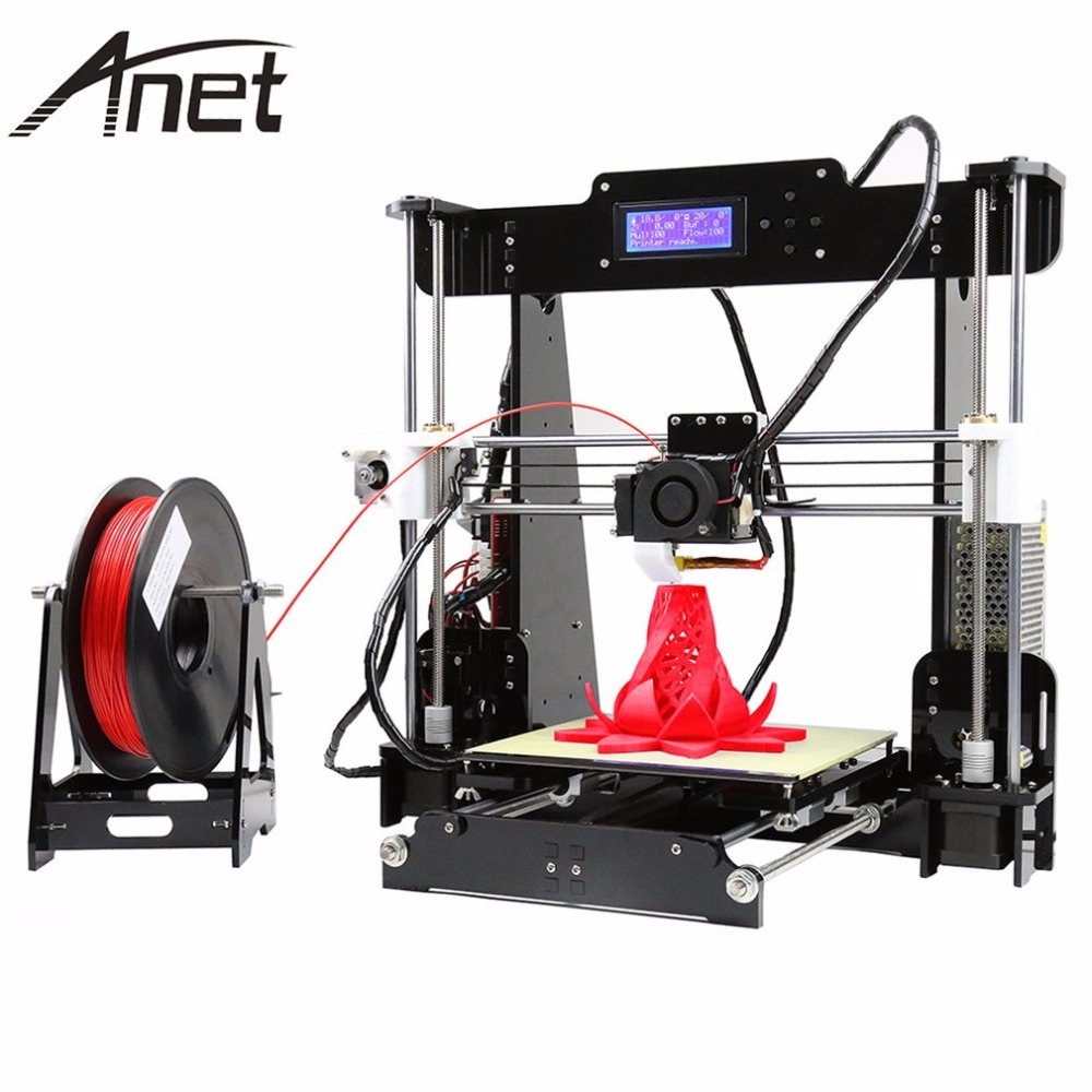 Anet A6 A8 Full Acrylic Frame 3D Color Printing Printer DIY Kit Filament SD Card LCD Screen Display  i3 +16GB Card anet a8 a6 3d printer high precision impresora 3d lcd screen aluminum hotbed extruder printers diy kit pla filament 8g sd card