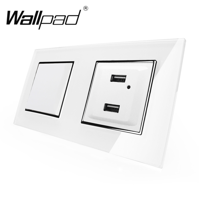 2 USB Socket + EU Button Switch Wallpad White Glass Frame 1 Gang 2 Gang Switch Outlet with USB Charging Ports Clips Mount Back