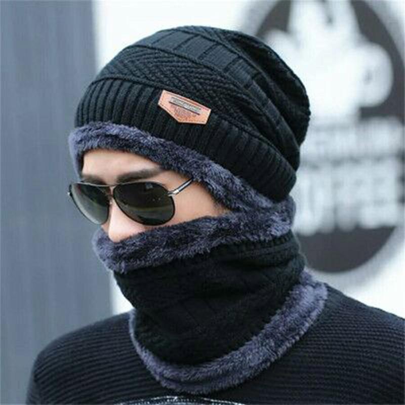 RUHAO Skullies Beanies 2pcs Ski Cap Scarf Cold Warm Leather Winter Hat For Women Men Knitted Hat Bonnet Warm Cap