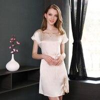 100% натуральная шелковые ночные рубашки женские пикантные ботинки со шнуровкой круглым вырезом спальный платье чистого цвета элегантность