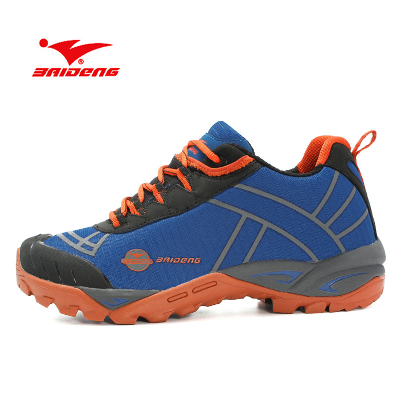 BAIDENG New Men Outdoor Hiking Shoes Breathable Trekking Hike Shoes Anti-Skid Hunting Mountain Shoes Men Sport Shoes Size 40~46 male athletic shoes breathable cushioning outdoor sport sneakers men lace up anti skid hunting krasovki zapatilla hiking shoes