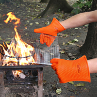 TTLIFE 2 PCS Heat Resistant Thick Glove Food Grade Silicone Barbecue Oven Glove Cooking BBQ Grill