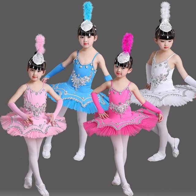 ab6011871 Sequin Bllet Tutu Swan Dance Skirt Girls Platter Tutu Dancing Dress ...