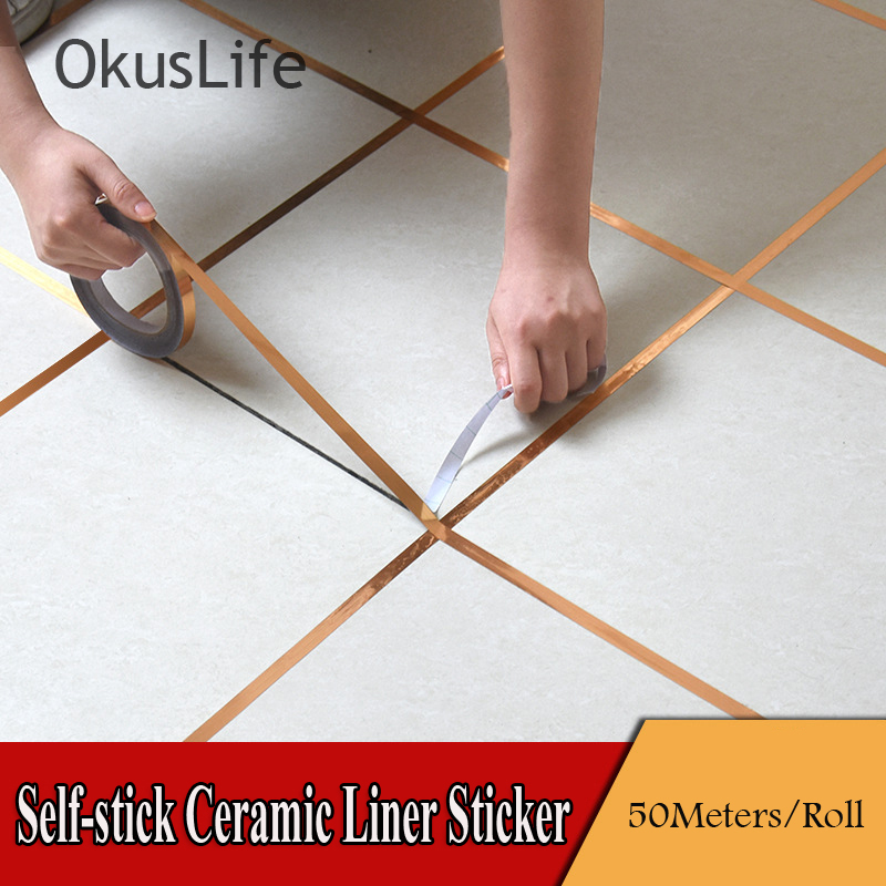 50 Meters Waterproof Gold And Silver Foil Sticker Liner For Tile Ceramic Home Decoration Kitchen Adhesive Bathroom Toilet Paper
