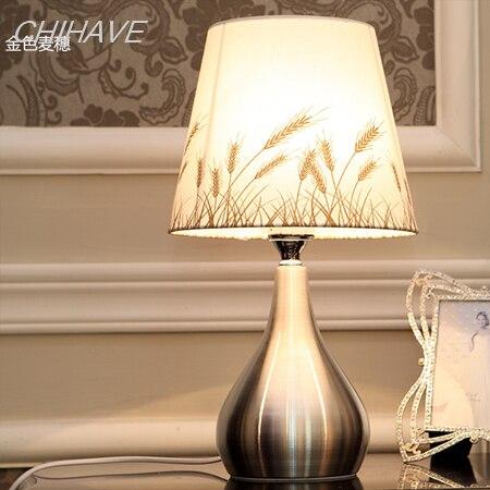 Freies Verschiffen Golden Weizen Kreative Wohnzimmer Tischlampe Schlafzimmer  Nachttischlampen Modernen Minimalistischen Metall Tischlampe Dimmer