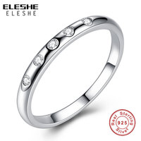 ELESHE Authentic 100 Real 925 Sterling Silver Droplets Stackable Clear CZ Finger Rings For Women Wedding