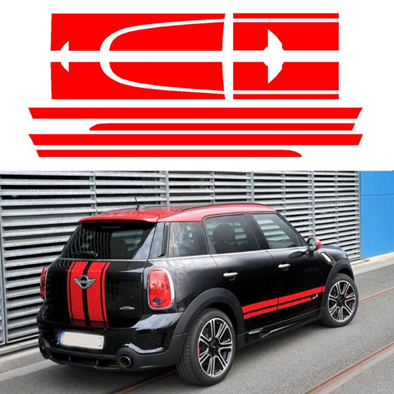 лучшая цена Hood+Trunk Engine+Rear Car Sticker Decal Decoration for MINI JCW Countryman John Cooper Works 2014 Only Car Styling Accessories
