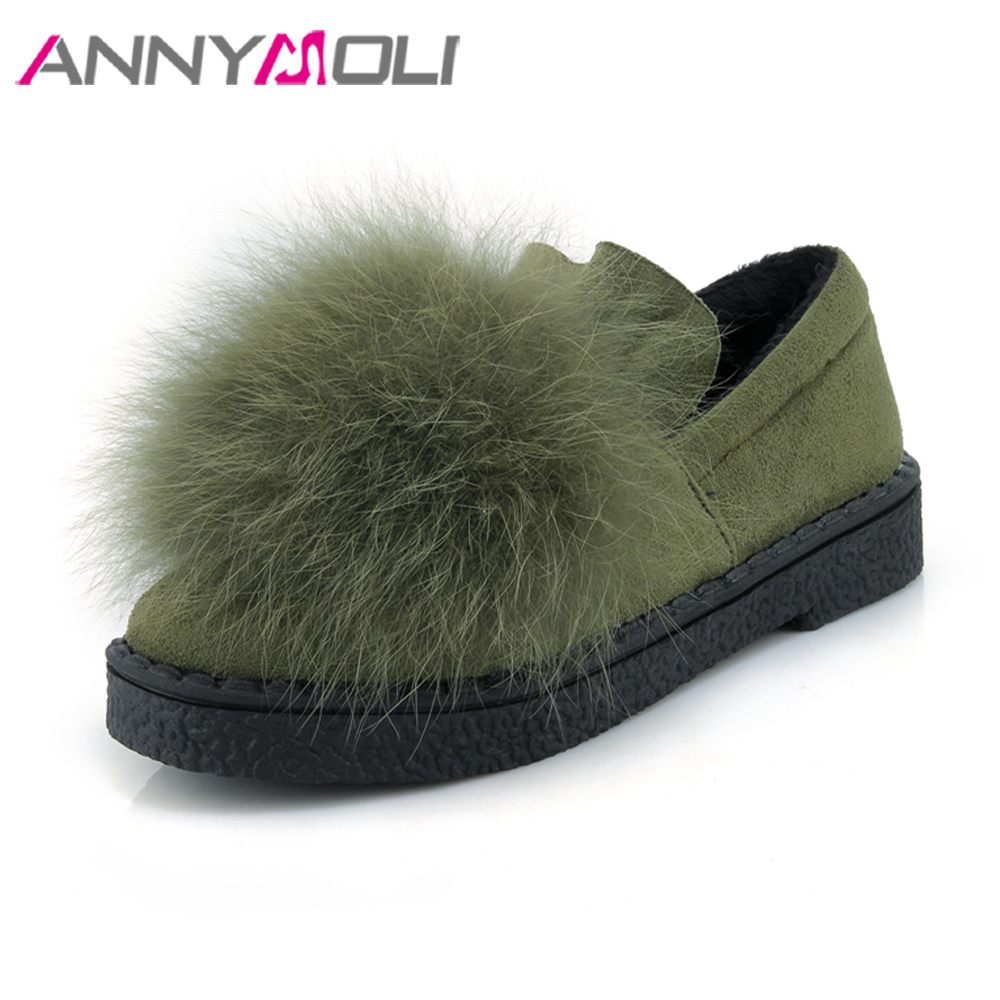 ANNYMOLI Women Shoes Winter Real Rabbit Fur Platform Flats Warm Loafers Ladies Shoes Spring Slip On Shoes Green Big Size 44 45 jingkubu 2017 autumn winter women ballet flats simple sewing warm fur comfort cotton shoes woman loafers slip on size 35 40 w329